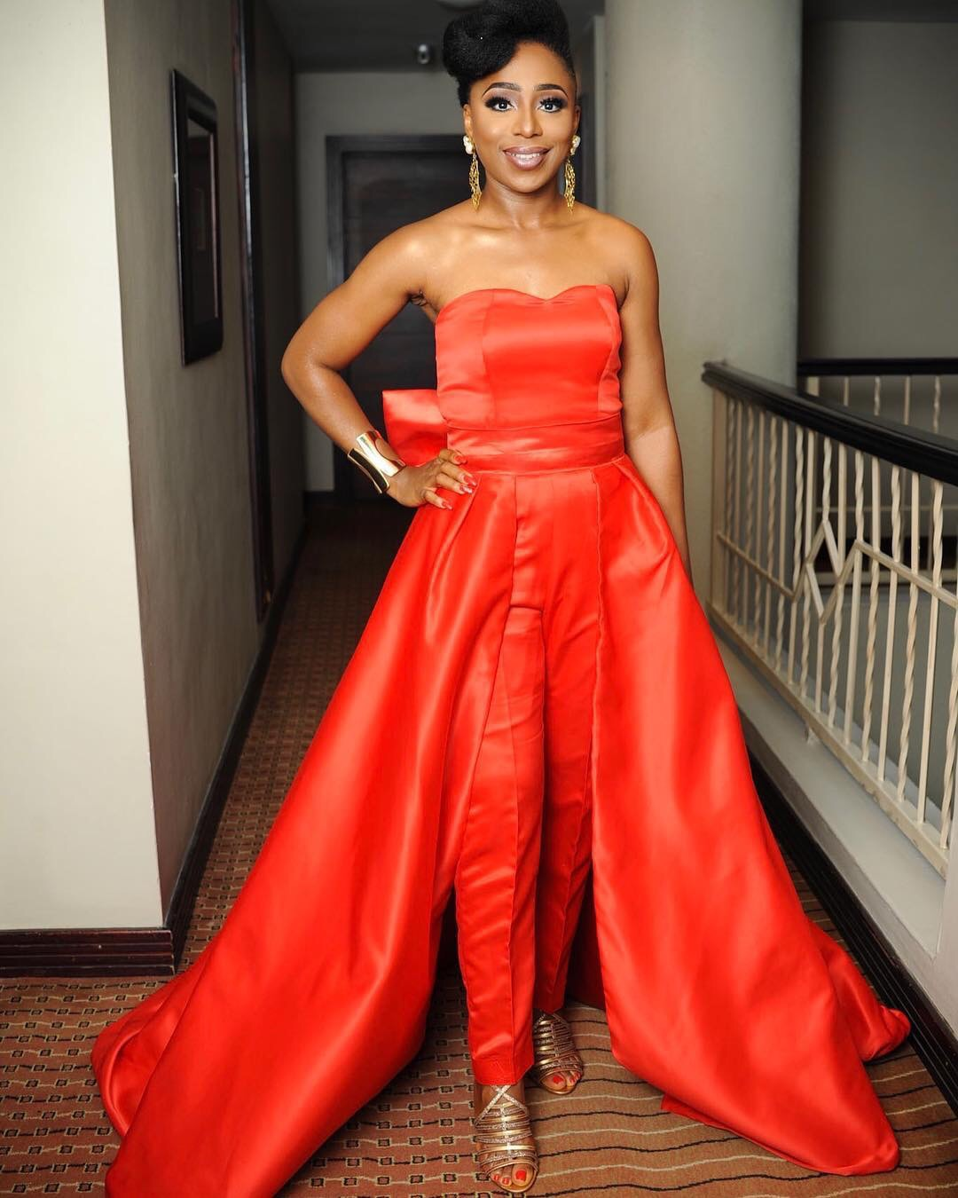 """Dakore Stuns In Flawless Red Evening Outfit At Premiere Of """"Isoken: The Movie"""""""