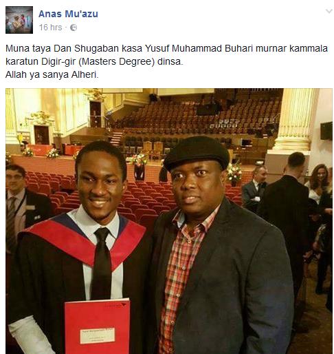 President Buhari's Son, Yusuf Bags Masters Degree From UK University