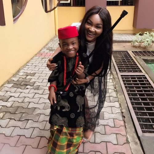 Mercy Aigbe Shows Off Son's Igbo Outfit For Cultural Day In School