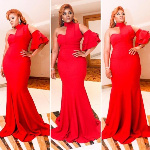 Actress Omotola Stuns In Red