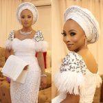 Toke Makinwa Stuns In White For Younger Sister Busayo's Wedding