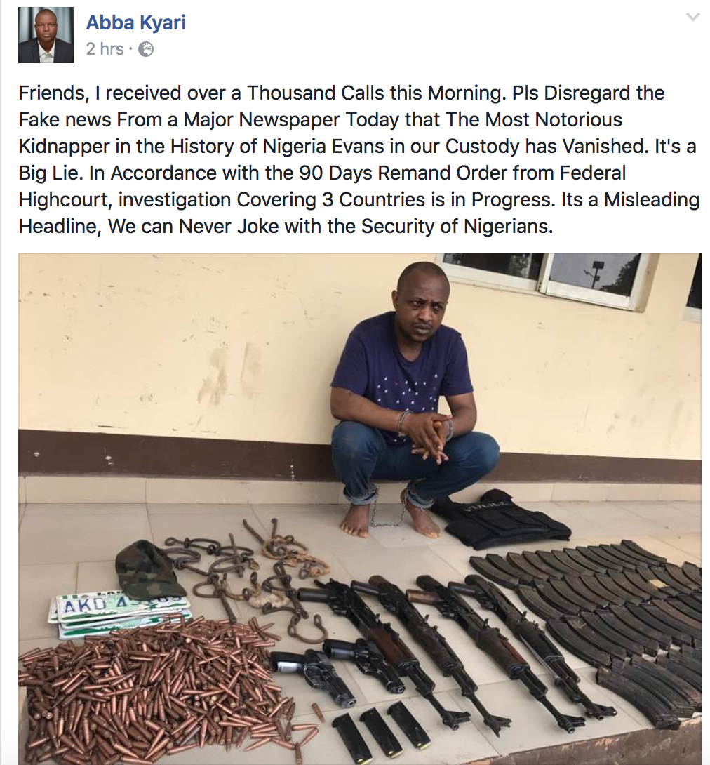 Abba Kyari, Police Officer Who Championed Evans Arrest Reassures Nigerians He Is In Police Custody