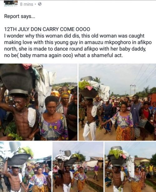 Elderly Woman Paraded After She Was Allegedly Caught Having Sex With Young Guy In Ebonyi