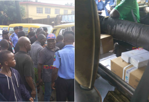 Ballot Papers Found In Bus At Agege, Sparks Protest (Photos)