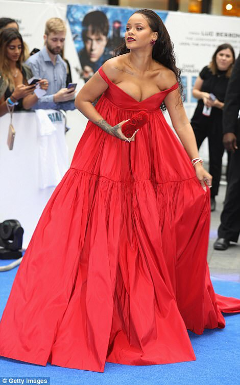 Photos: Rihanna Stuns In Red As Arrives UK Premiere Of Her New Movie Valerian