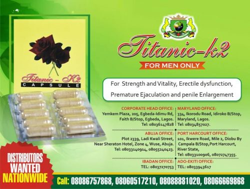 YEMKEM Out With Titanic – K2 Capsule To Tackle  Premature Ejaculation