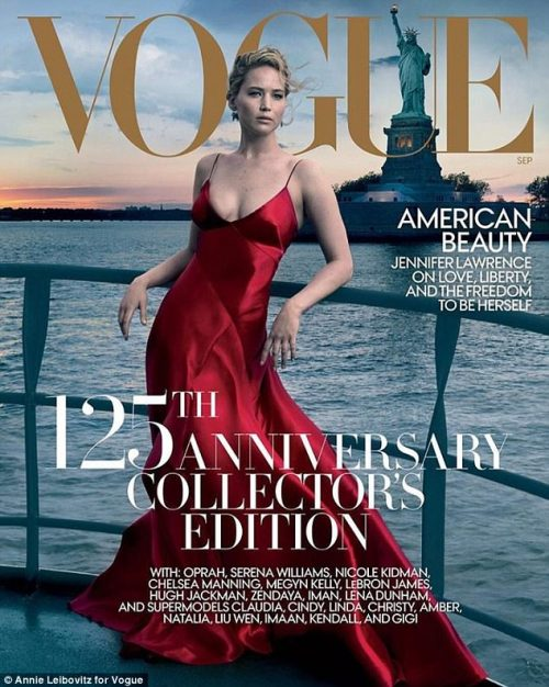 Jennifer Lawrence Covers   September 2017 Issue Of Vogue, Which Doubles As The 125th Anniversary Edition