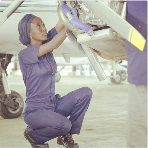 See Photo Of Young Nigerian Female Engineer Who Works As An Aircraft Mechanic
