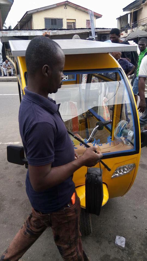 Man builds solar-powered tricycle, drives it to Yaba