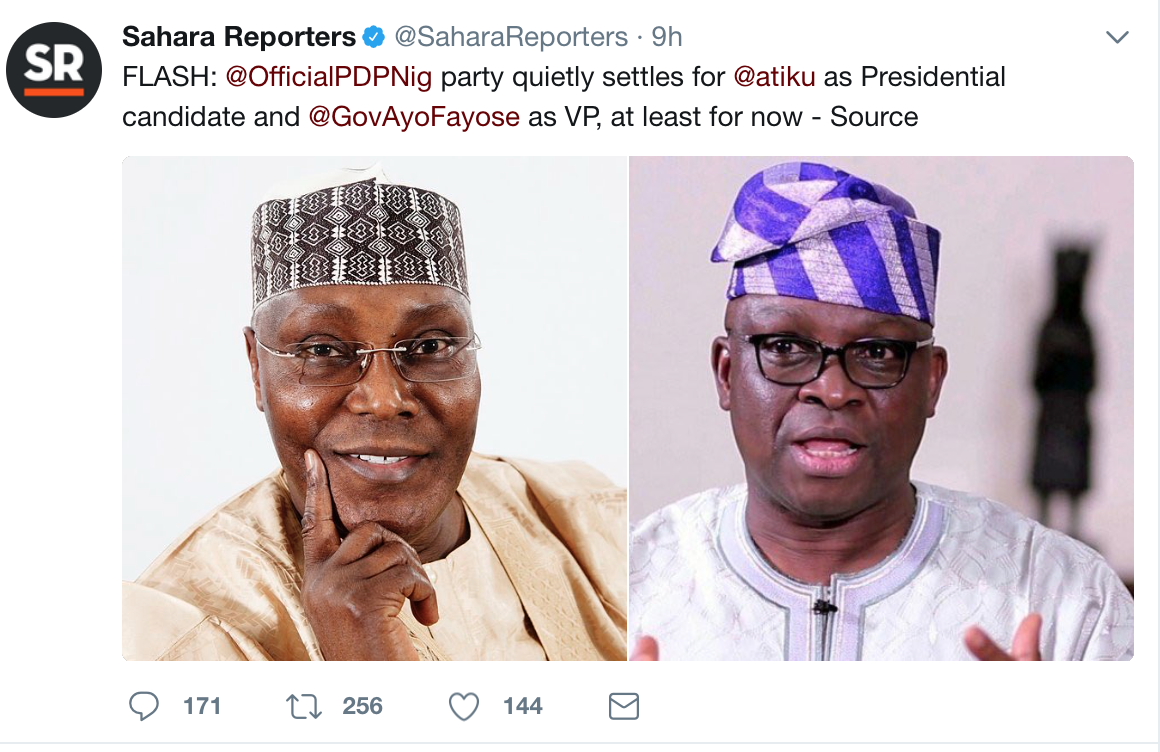 PDP Reportedly Settles For Atiku As  Presidential Candidate, Fayose As VP