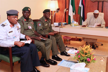 President Buhari Addresses Security Chiefs In Closed Door Meeting