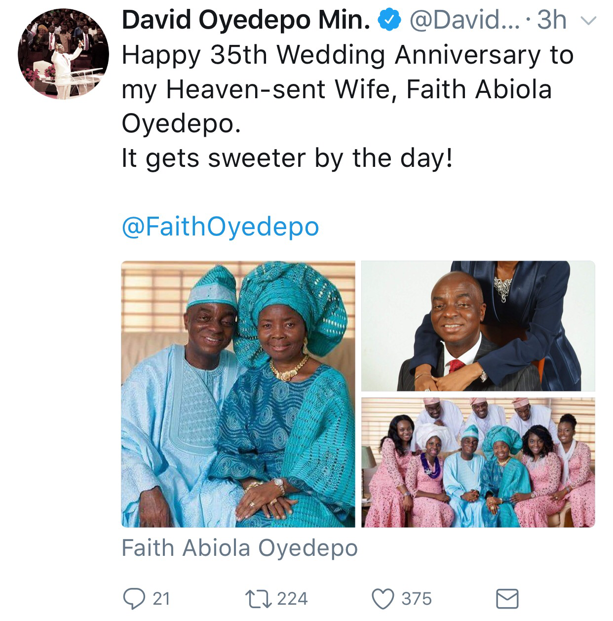 Bishop David Oyedepo And Wife Celebrate 35th Wedding Anniversary