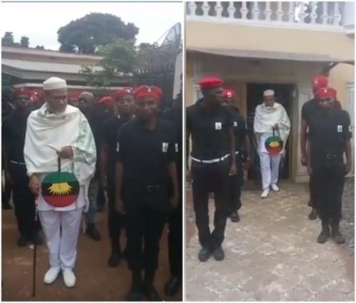 BIAFRA: Viral Video Of Nnamdi Kanu Inspecting Biafra Secret Service (BSS)