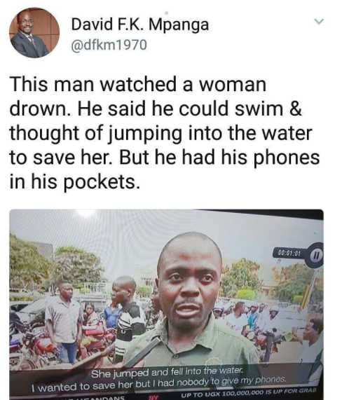 Ugandan Man Chooses To Save His Mobile Phones Over Drowning Woman