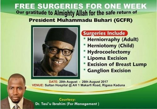 Kaduna Hospital Announces Free Surgeries To Celebrate Buhari's Return