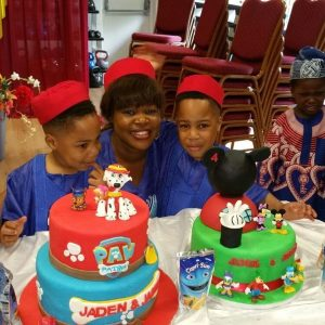 Taiwo Aromokun's first set of twins when they turned 4 last July