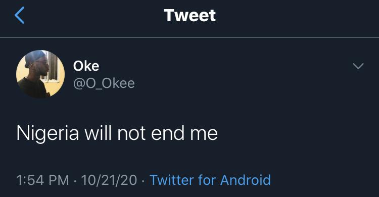 Lekki Massacre: Young Man, Oke Short Dead 3 Hours After Tweeting 'Nigeria Will Not End Me'