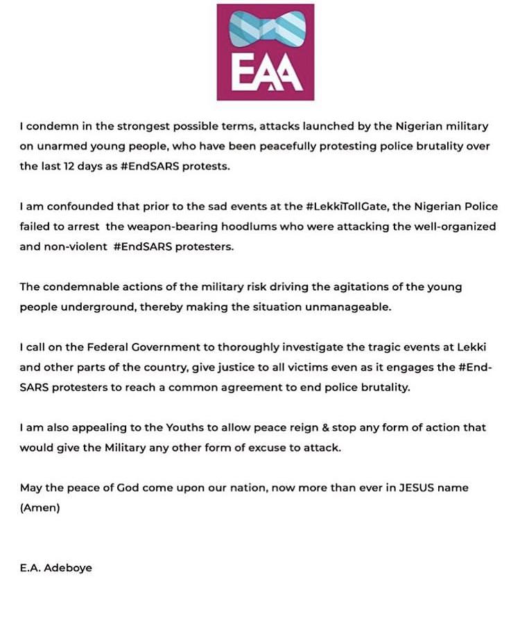 #EndSARS: Pastor Adeboye, Sam Adeyemi, Tunde Bakare, Others Condemn Brutal Killing Of Unarmed Protesters