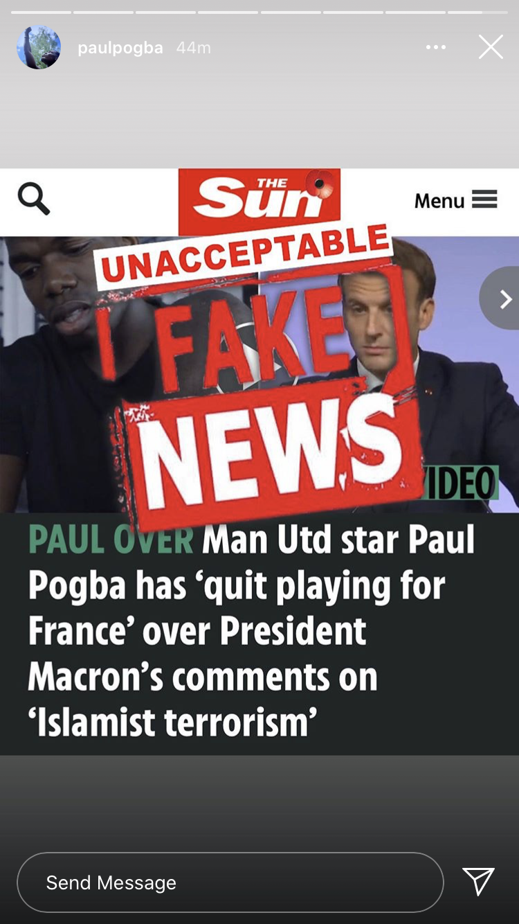 Paul Pogba Denies Reports Of Quitting France National Team Over President Macron's Comments On 'Islamist Terrorism'